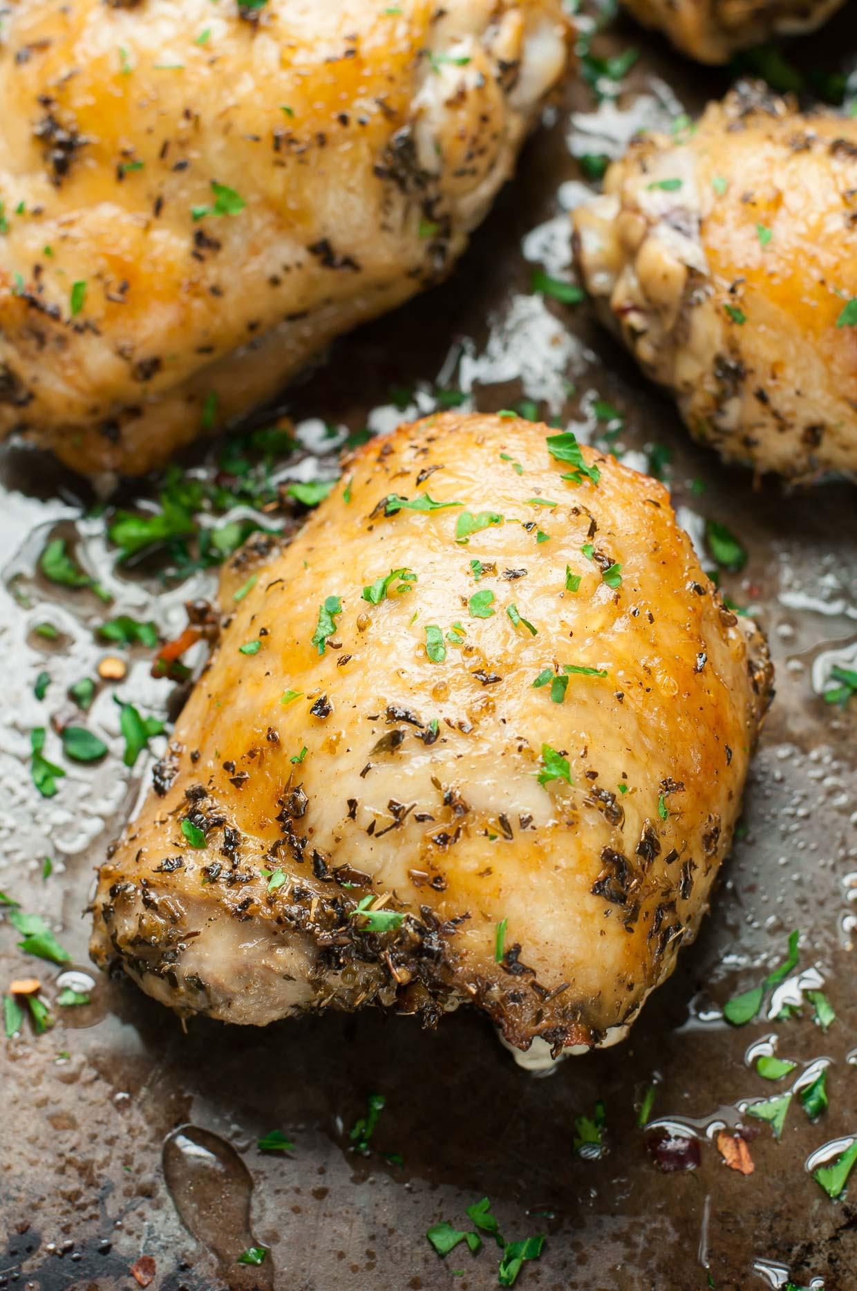 Baked Greek Chicken Recipe  Crispy Baked Chicken Thighs with Garlic Turmeric Rice