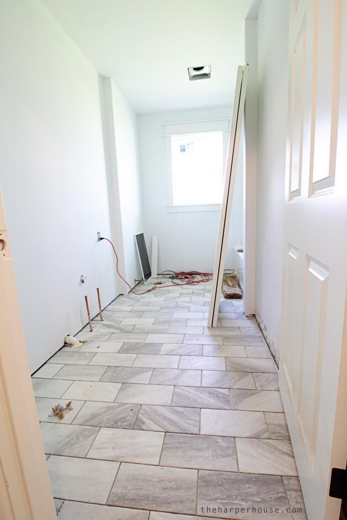 Bathroom Tile Floors  Classic Gray and White Bathroom