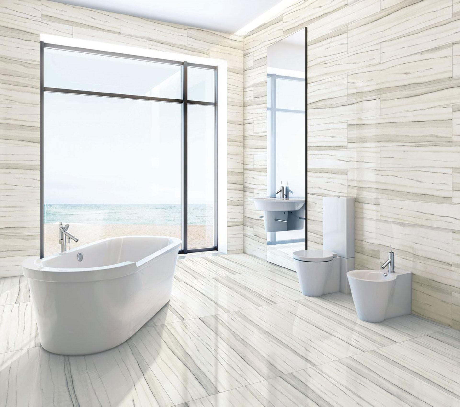 Bathroom Tile Floors  The contemporary bathroom with Stonepeak's porcelain floor