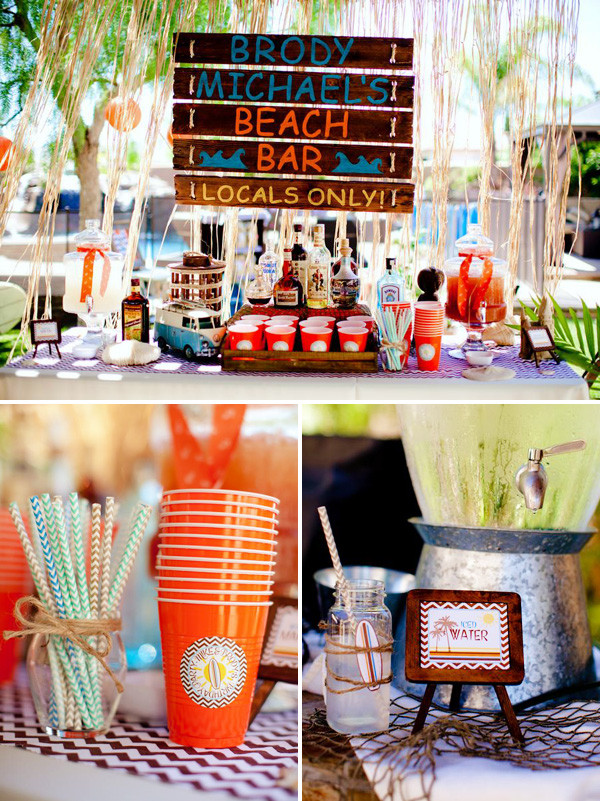Beach Bar Party Ideas  Vintage Surf Theme Party Father & Son Joint Birthday