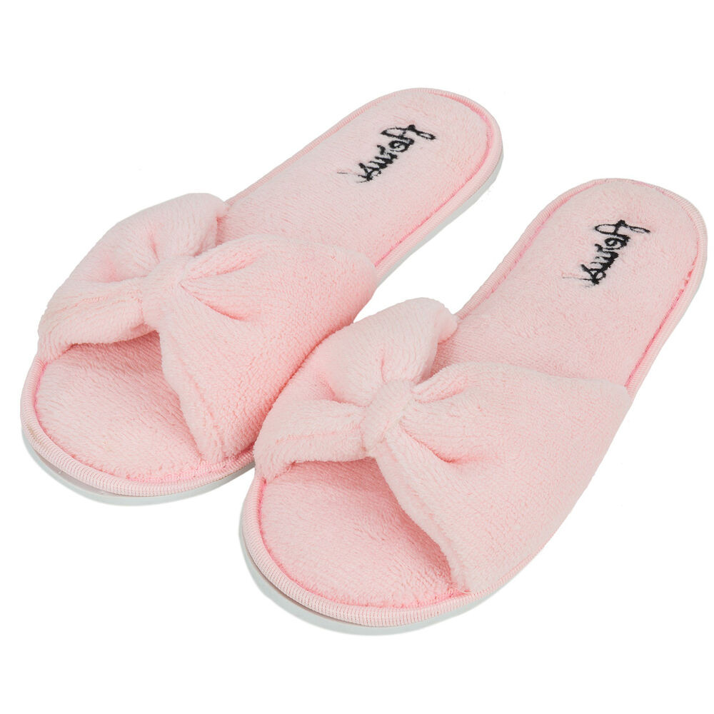 Bedroom Shoes For Womens  Pink Bowknot Women s Open Toe Cozy Slide Spa Slipper
