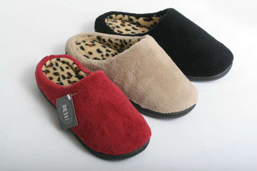 Bedroom Shoes For Womens  NEW WOMEN COZY LEOPARD PRINT CLOG HOUSE BEDROOM SLIPPERS