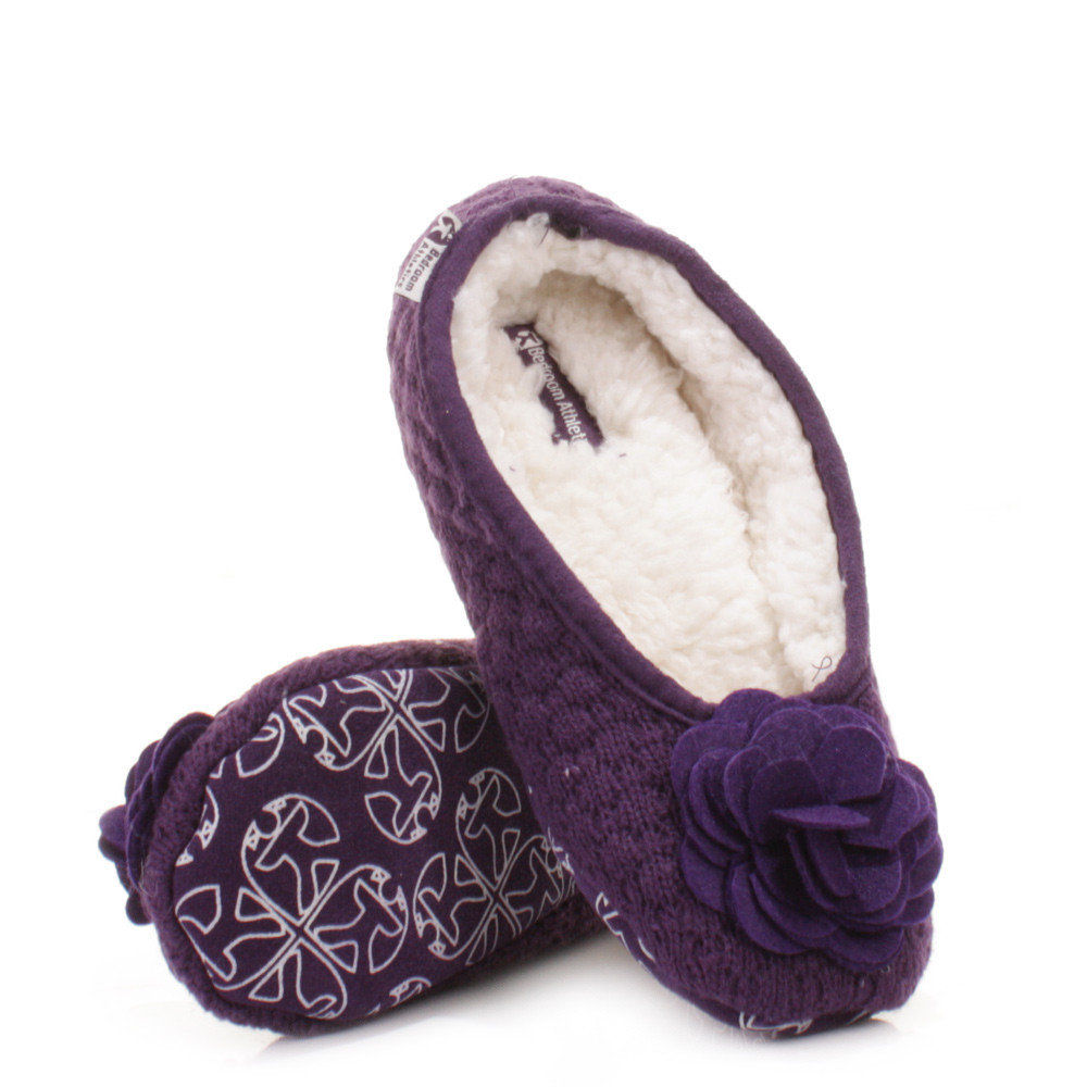 Bedroom Shoes For Womens  WOMENS BEDROOM ATHLETICS CHARLIZE GRAPE FLEECE KNITTED