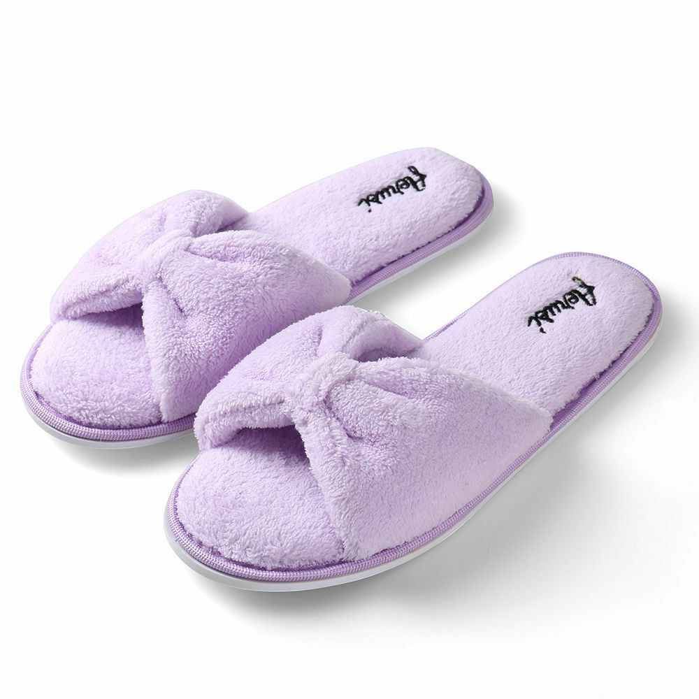 Bedroom Shoes For Womens  Purple Women s Open Toe Bowknot Plush Spa Slipper Indoor