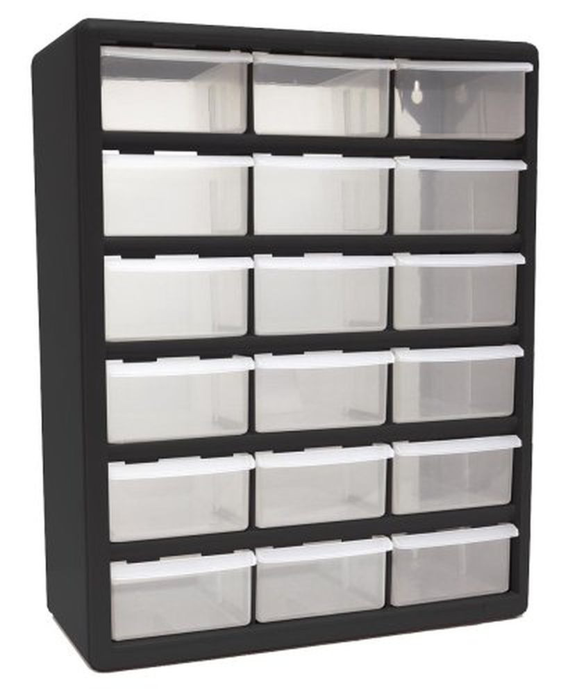 Bedroom Storage Bins  18 Drawer Plastic Parts Organizer Bins Item Boxes Cabinet