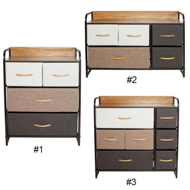 Bedroom Storage Bins  Chest Cabinet Dresser 7 Drawers Storage Wheels Home Closet