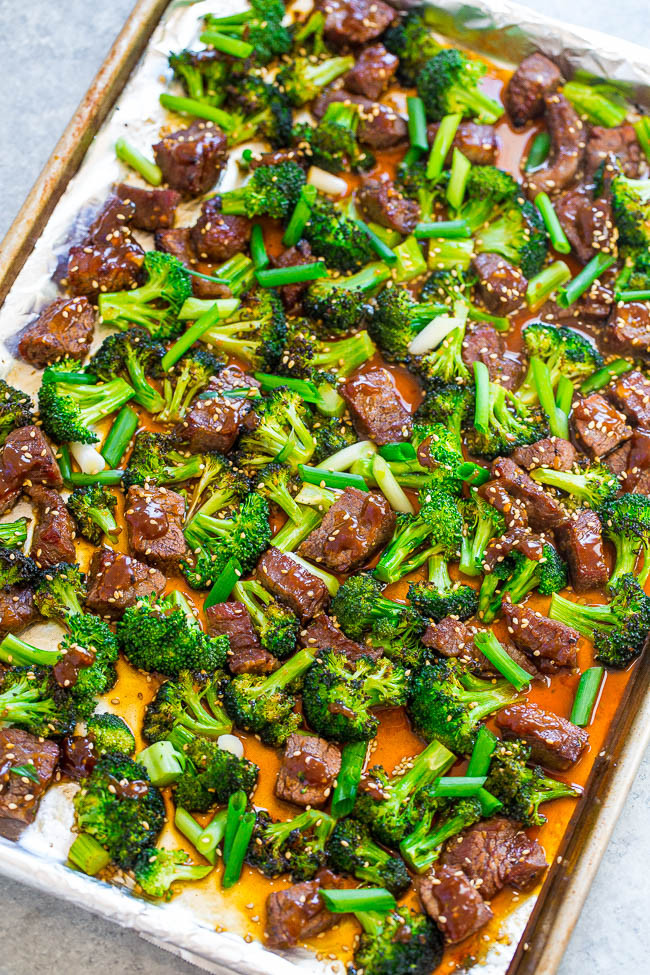 Beef Sheet Pan Dinners  Sheet Pan Chinese Beef and Broccoli 15 Minutes Averie