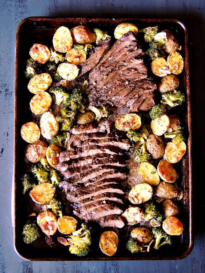 Beef Sheet Pan Dinners  Sheet Pan Steak with Potatoes and Broccoli