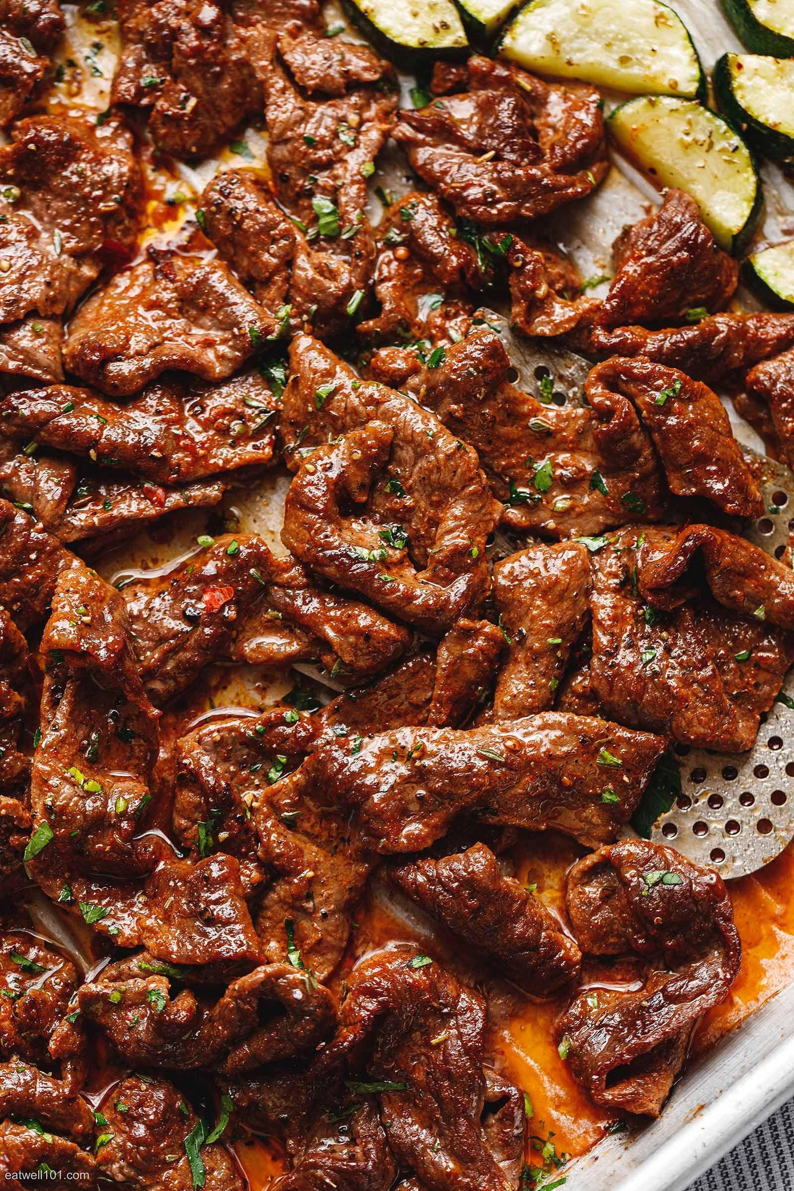 Beef Sheet Pan Dinners  10 Minute Sheet Pan Steak with Lemon Zucchini in 2020