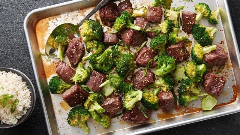 Beef Sheet Pan Dinners  Sheet Pan Sesame Beef and Broccoli Recipe BettyCrocker