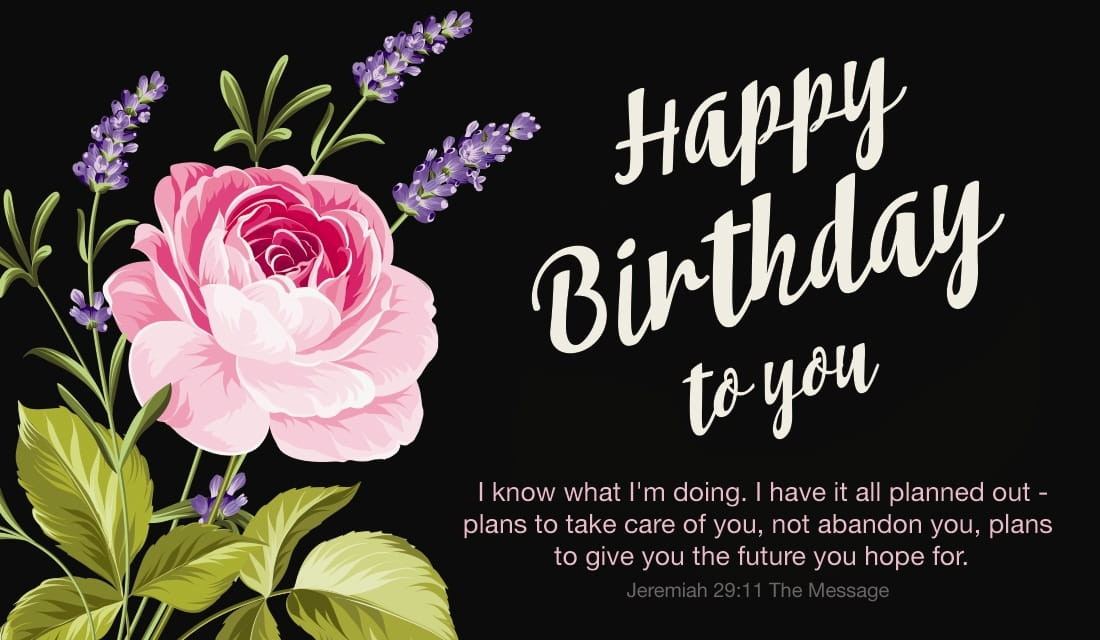 Bible Quotes About Birthdays  Free Happy Birthday Jeremiah 29 11 MSG eCard eMail