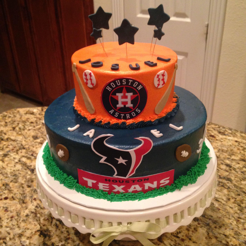 Birthday Cakes Houston  Houston Astros and Texans cake