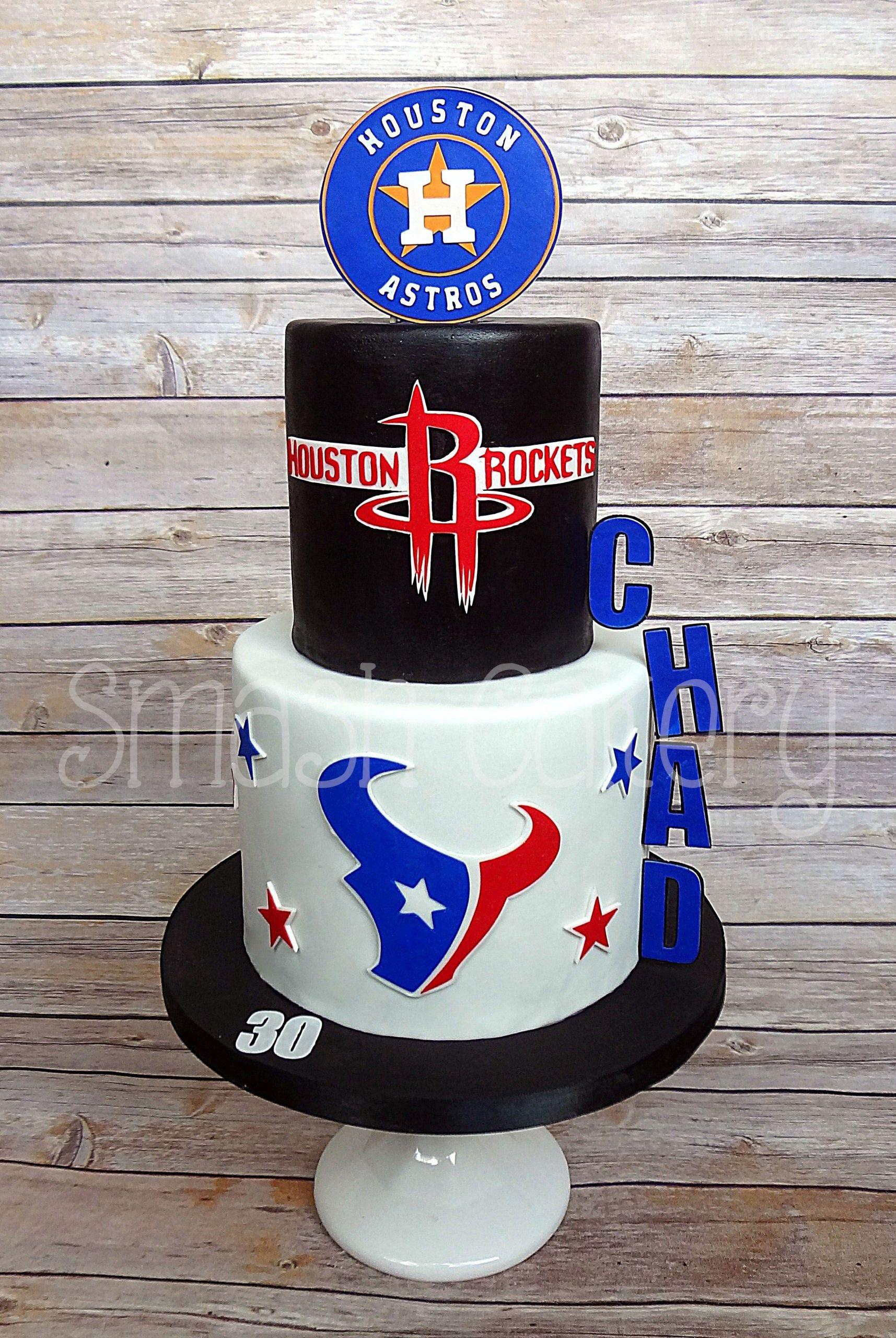 Birthday Cakes Houston  Houston Astros Rockets and Texans themed fondant cake