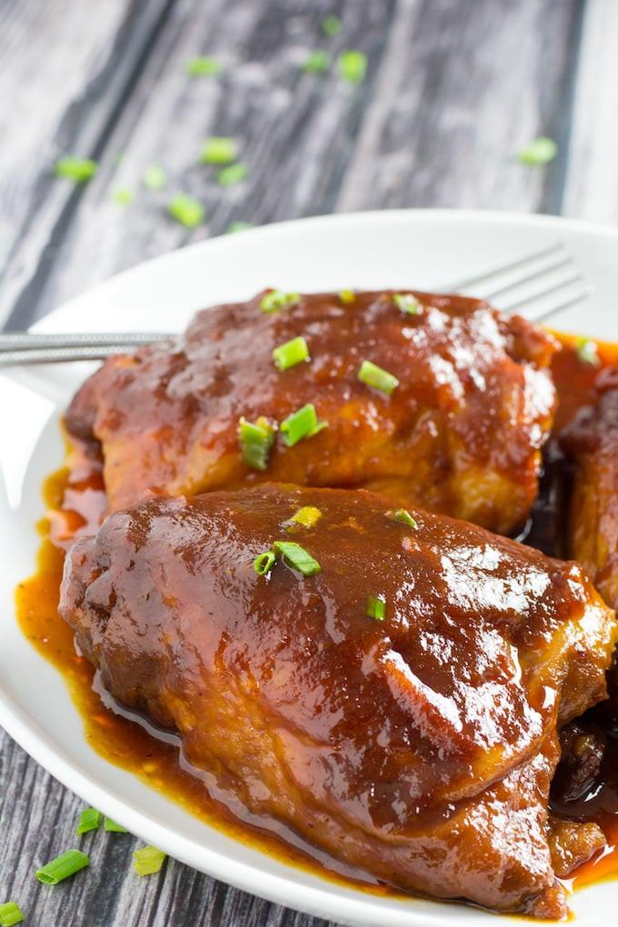 Bone In Chicken Thighs Slow Cooker  BEST Crockpot BBQ Chicken Thighs Ever • Dishing Delish