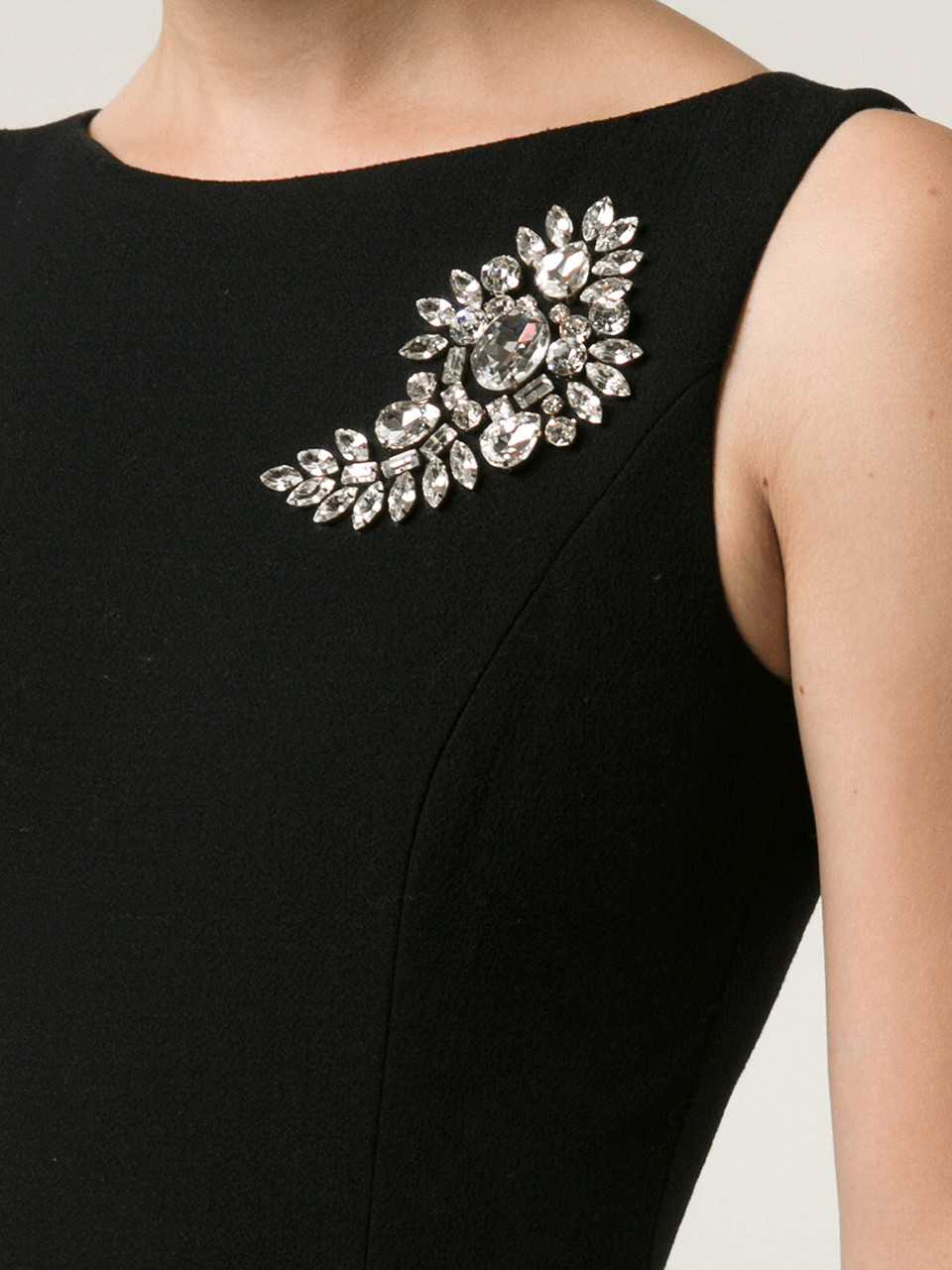 Brooches Outfit  Michael Kors Paisley Brooch Sheath Dress in Black Lyst