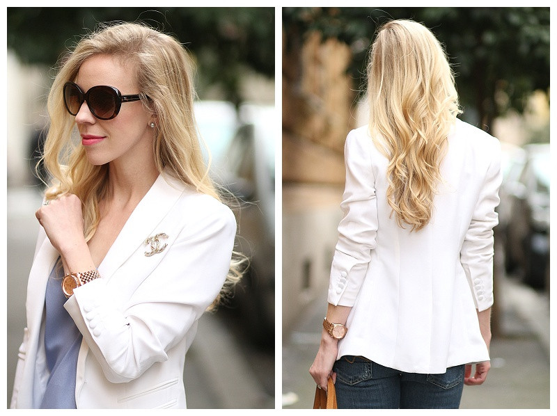 Brooches Outfit  Polished Casual White blazer Boyfriend jeans