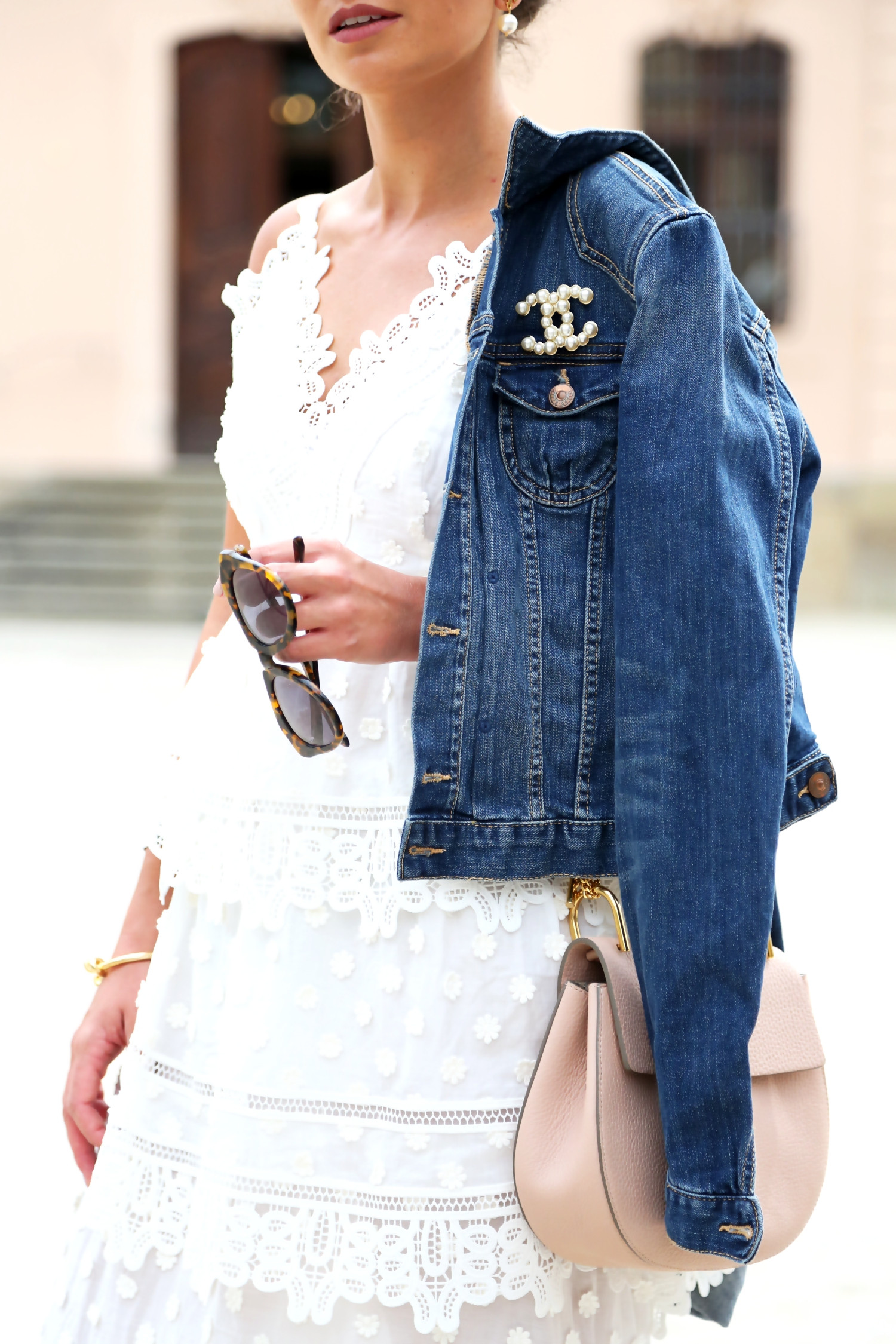 Brooches Outfit  Selfportrait white maxi dress Chloé Drew bag