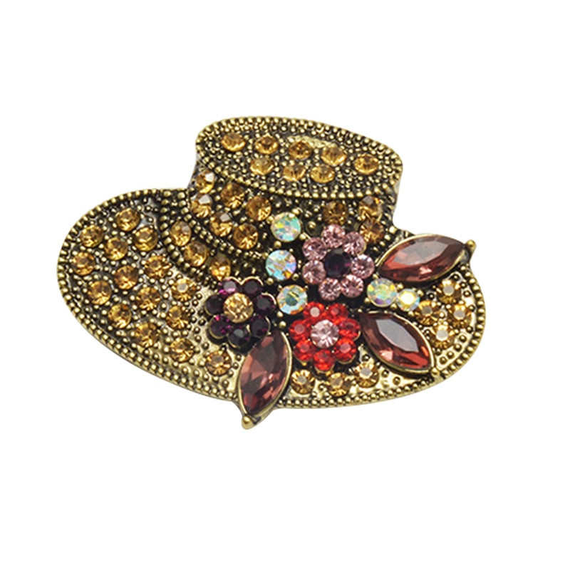 Brooches Outfit  Fashion Hat Shape Rhinestone Brooch Pins Vintage Flower