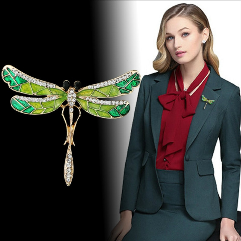 Brooches Outfit  2018 Crystal Vintage Dragonfly Brooches for Women
