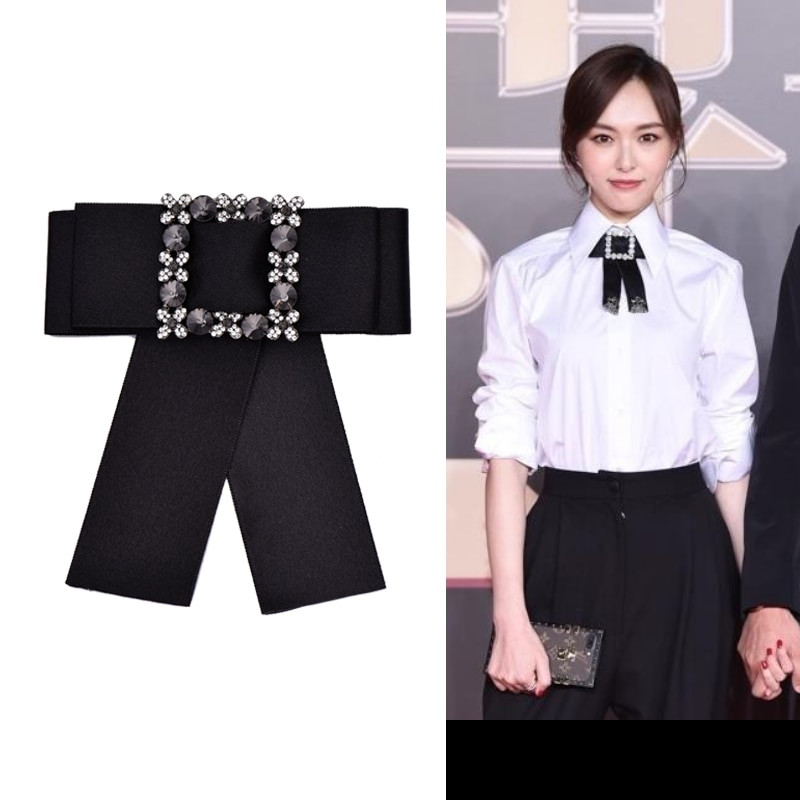 Brooches Outfit  OBN New Fashion Rhinestone Dress Shirt Brooches Pin Bow