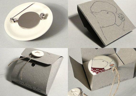 Brooches Packaging  porcelain brooch packaging by AtelierGilet