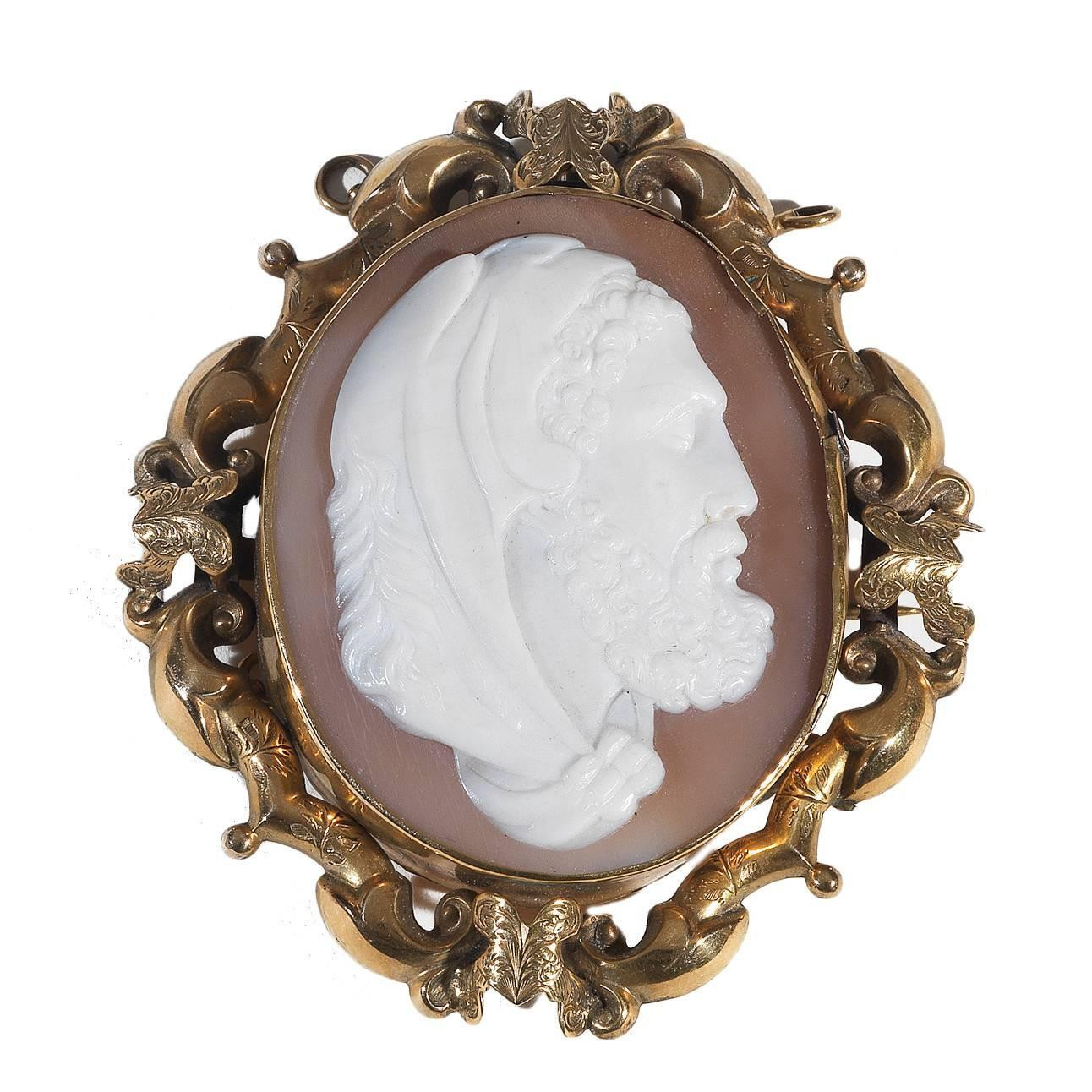 Cameo Brooches  Antique Cameo Shell Gold Hercules Brooch Pendant For