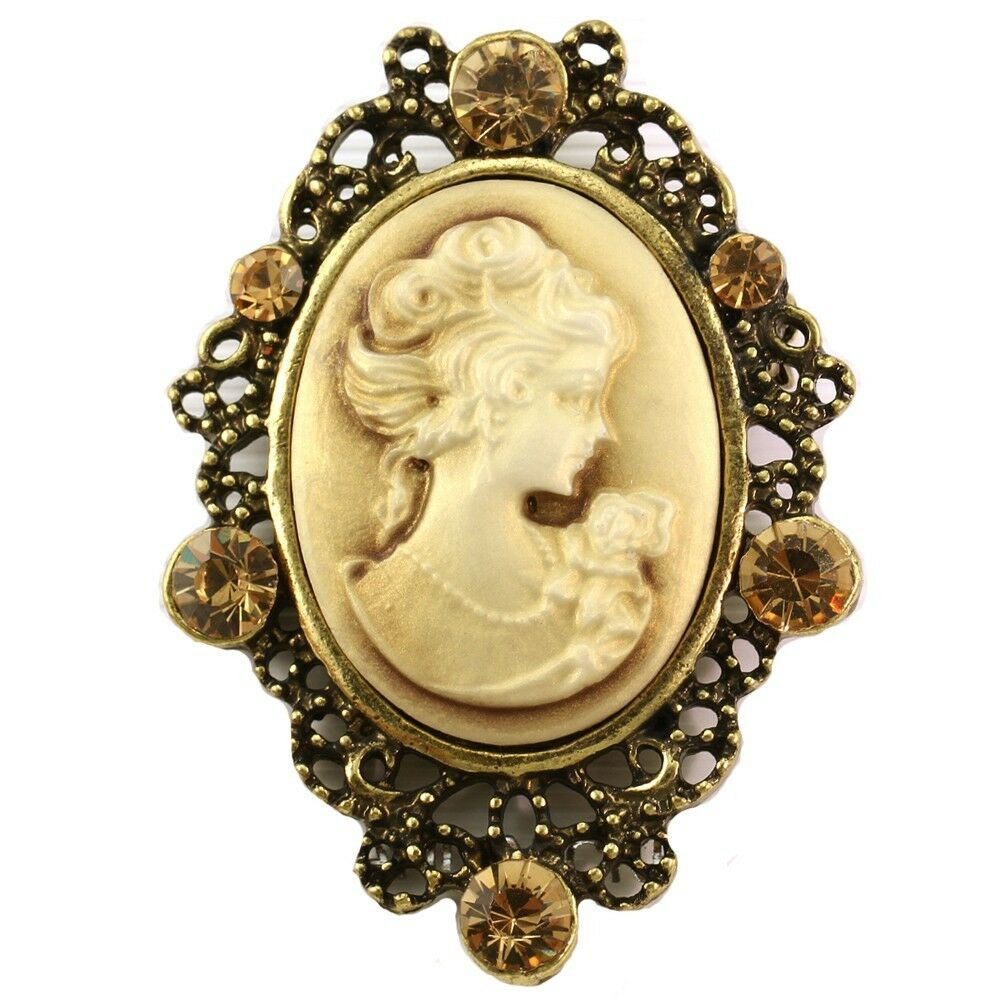 Cameo Brooches  Brown Topaz Antique VTG Brass CAMEO Brooch Pin Pendant