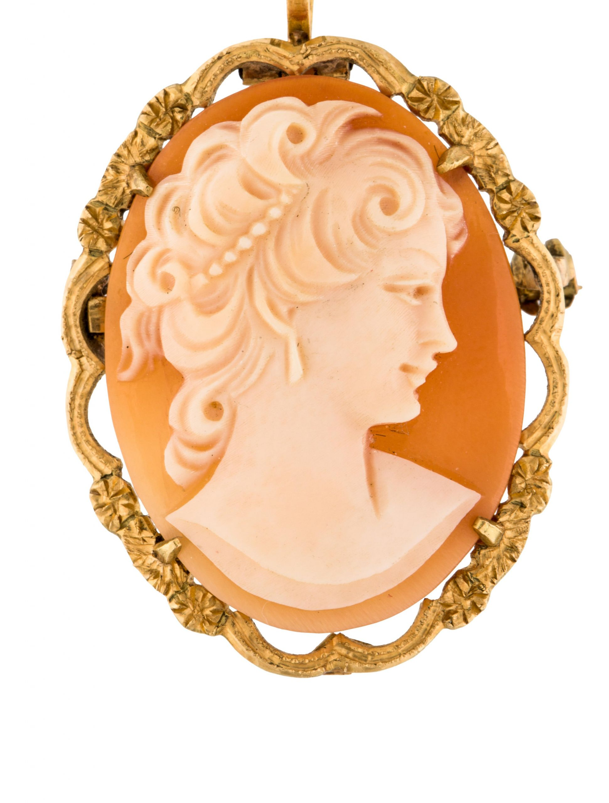 Cameo Brooches  18K Cameo Brooch Pendant Brooches BROOC