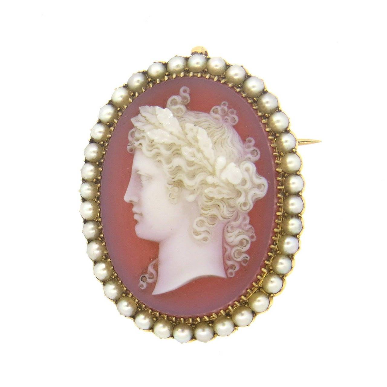 Cameo Brooches  Impressive Antique Pearl Hard Stone Cameo Brooch Pendant