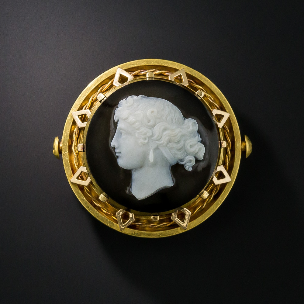 Cameo Brooches  Victorian Hard Stone Cameo Brooch Vintage Jewelry