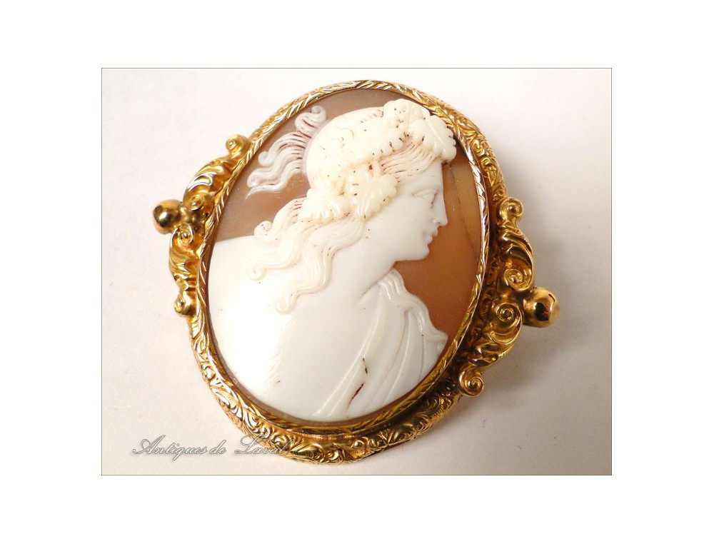 Cameo Brooches  Pomponne gold cameo brooch portrait woman antique 19th