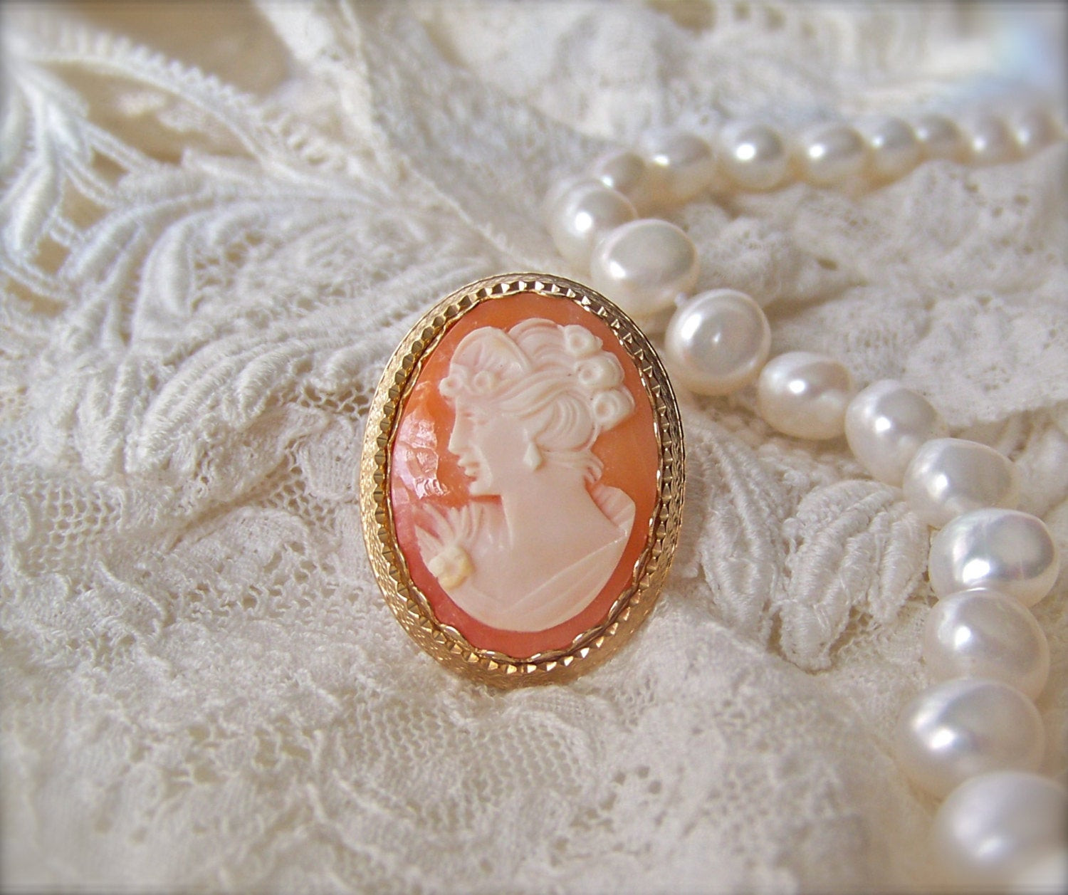 Cameo Brooches  Antique Cameo Brooch Pendant 14KGF Hand Carved by