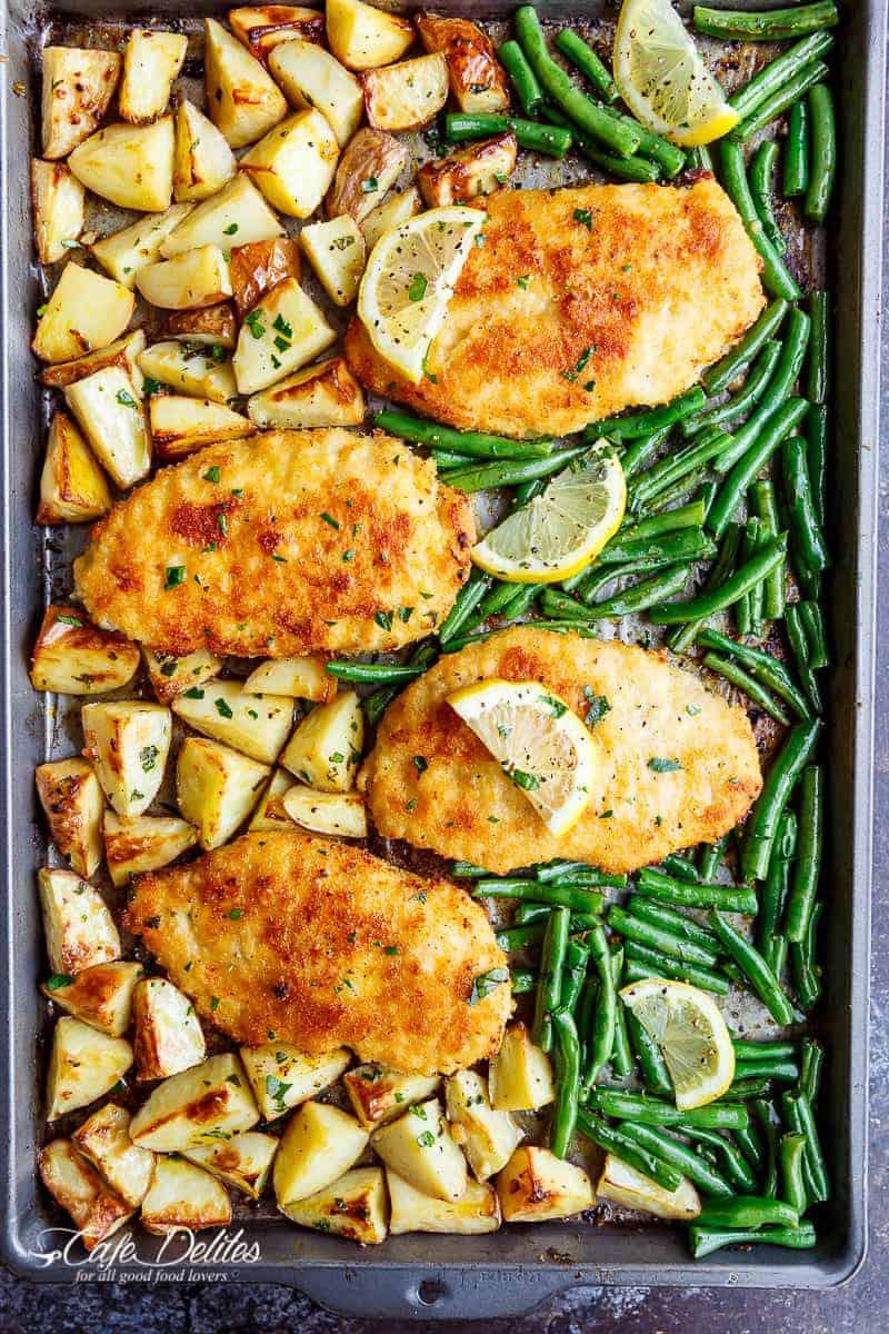 Chicken Breast Sheet Pan Dinner  Sheet Pan Lemon Parmesan Garlic Chicken & Veggies Cafe