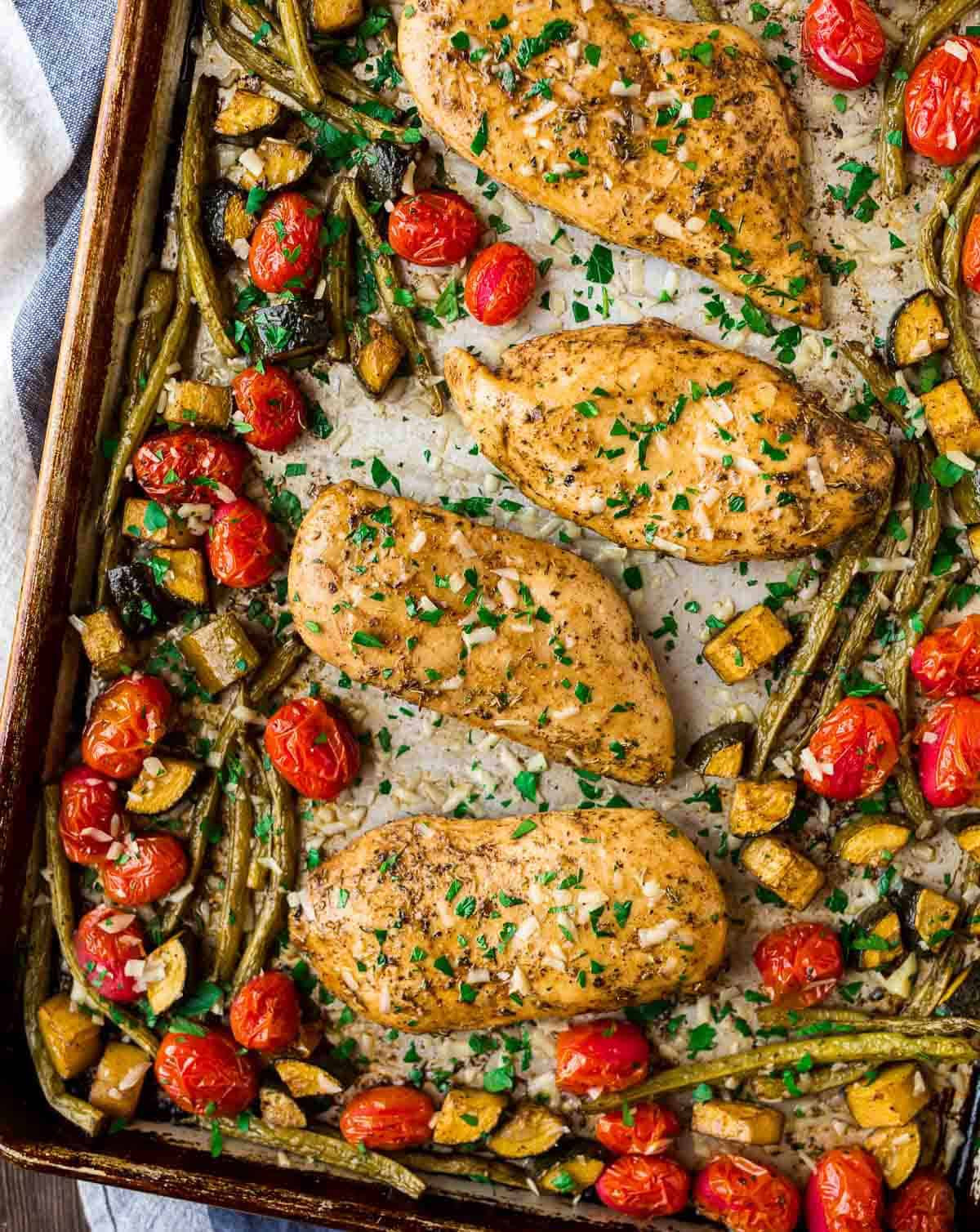 Chicken Breast Sheet Pan Dinner  Sheet Pan Italian Chicken with Tomatoes and Ve ables