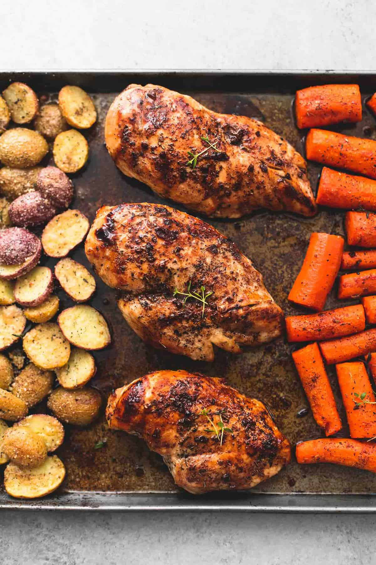 Chicken Breast Sheet Pan Dinner  Sheet Pan Balsamic Chicken with Potatoes and Carrots