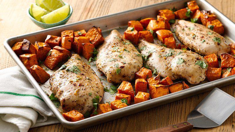 Chicken Breast Sheet Pan Dinner  Jerk Chicken with Sweet Potatoes Sheet Pan Dinner recipe