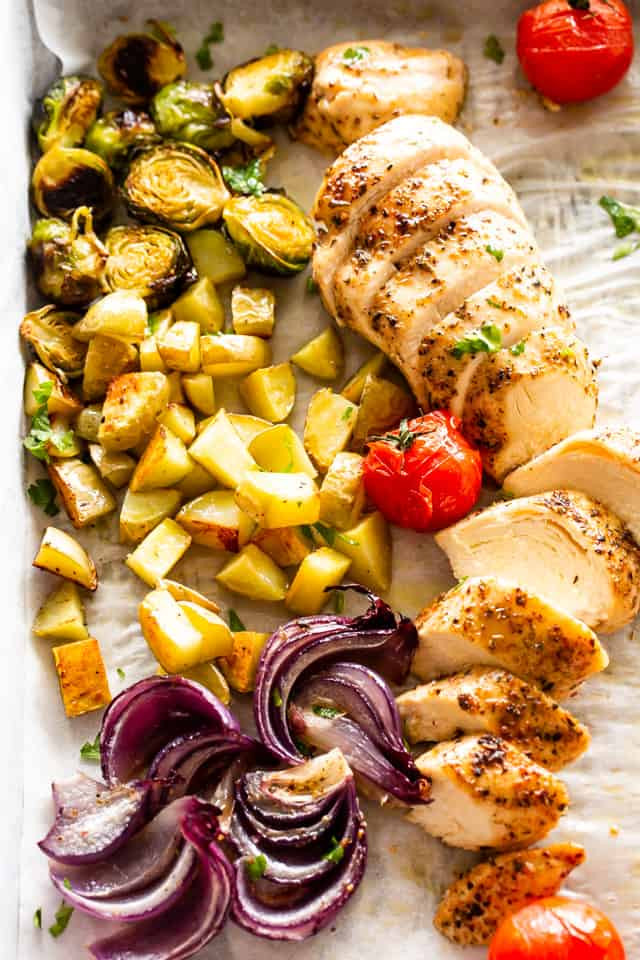 Chicken Breast Sheet Pan Dinner  Sheet Pan Garlic Herb Chicken Breasts with Potatoes & Veggies