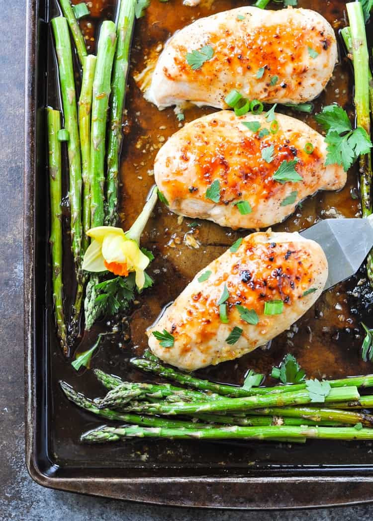 Chicken Breast Sheet Pan Dinner  Sheet Pan Honey Apricot Chicken and Asparagus The