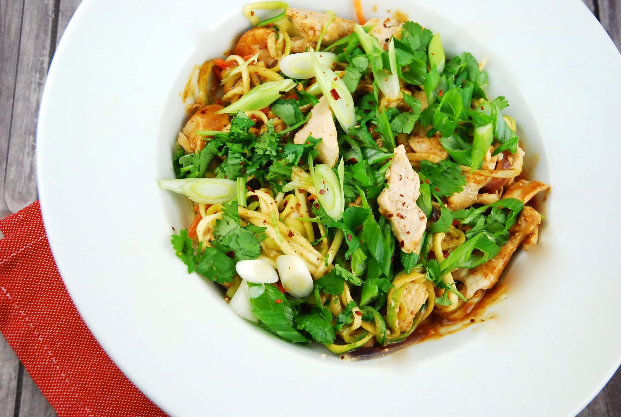 Chicken Pad Thai Calories Restaurant  Chicken Pad Thai with Zoodles 5 Points LaaLoosh