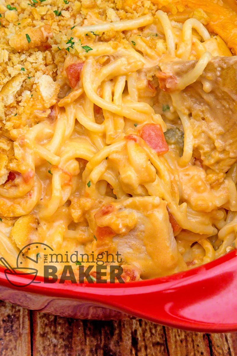 Chicken Rotel Casserole  Rotel Chicken Spaghetti Casserole The Midnight Baker