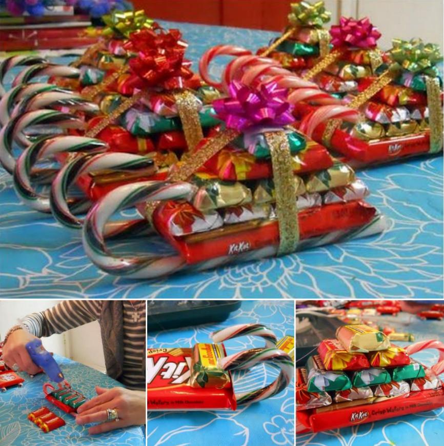 Christmas Candy Sleigh  DIY Candy Cane Santa Sleighs