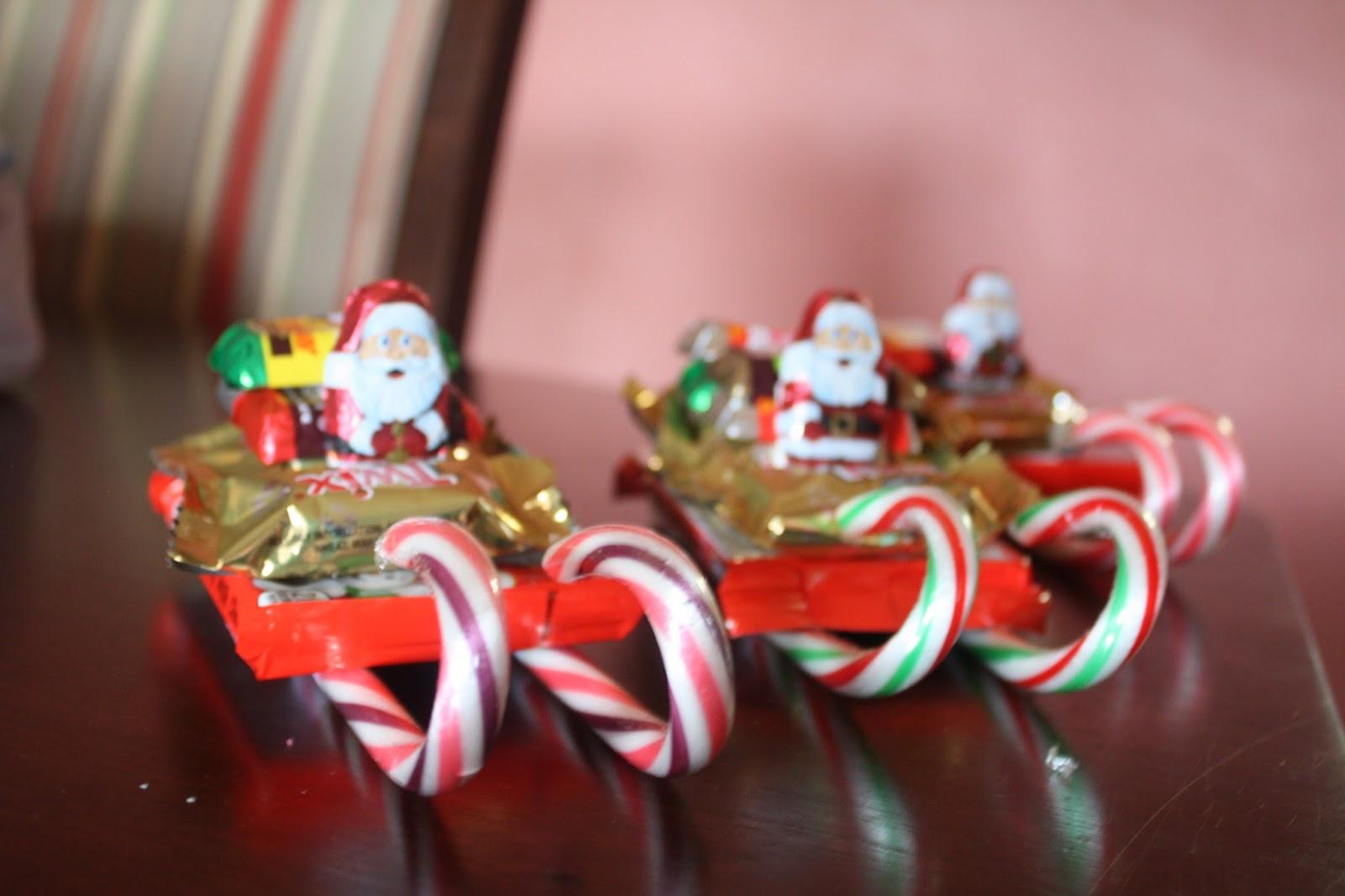 "Christmas Candy Sleigh  christmas candy sleighs and snowman ""soup"""