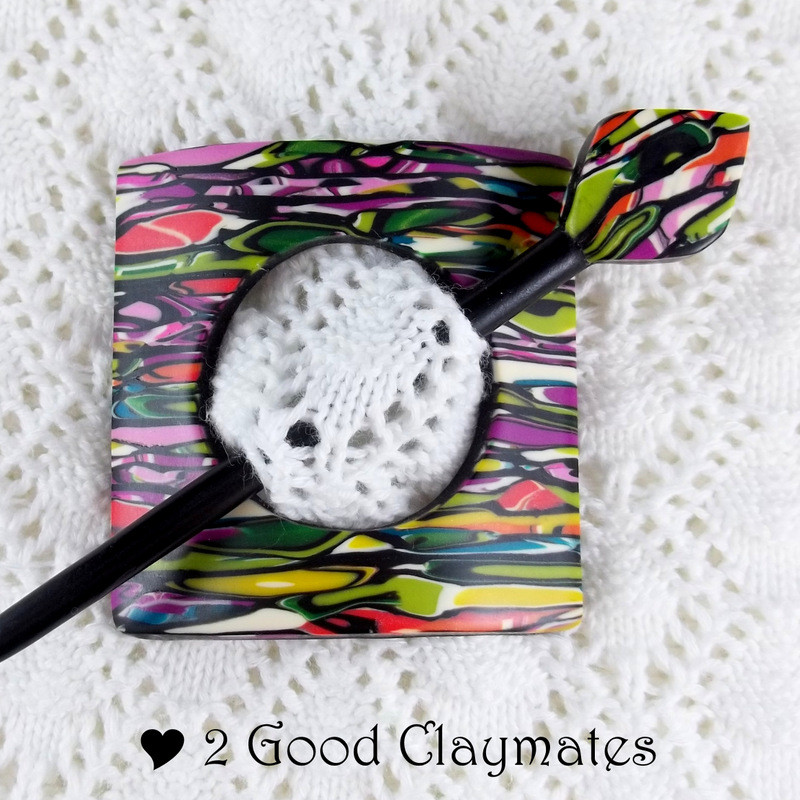 """Clay Pins  2 Good Claymates Stroppel Cane """"Snaps"""""""