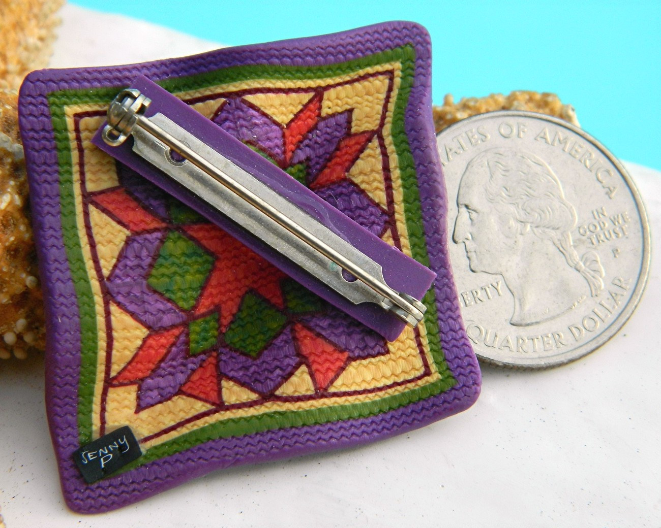 Clay Pins  Quilt Block Quilter Brooch Pin Polymer Clay Jenny