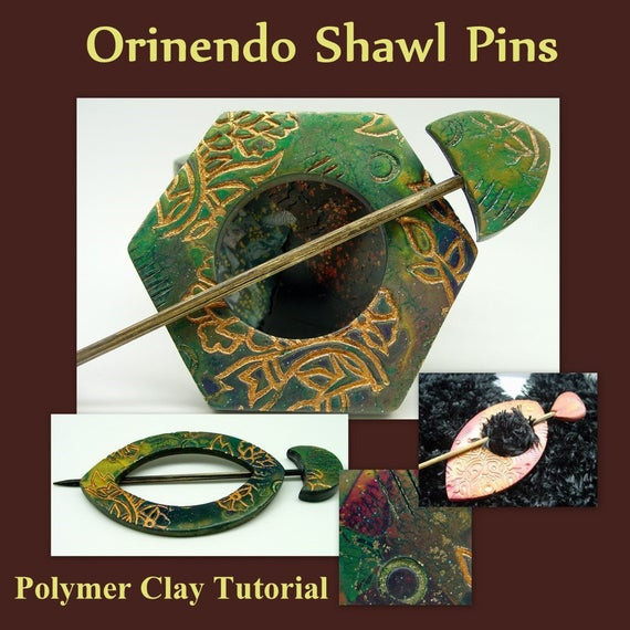 Clay Pins  Golden Patterns Shawl Pin Polymer Clay Tutorial by Bead ber