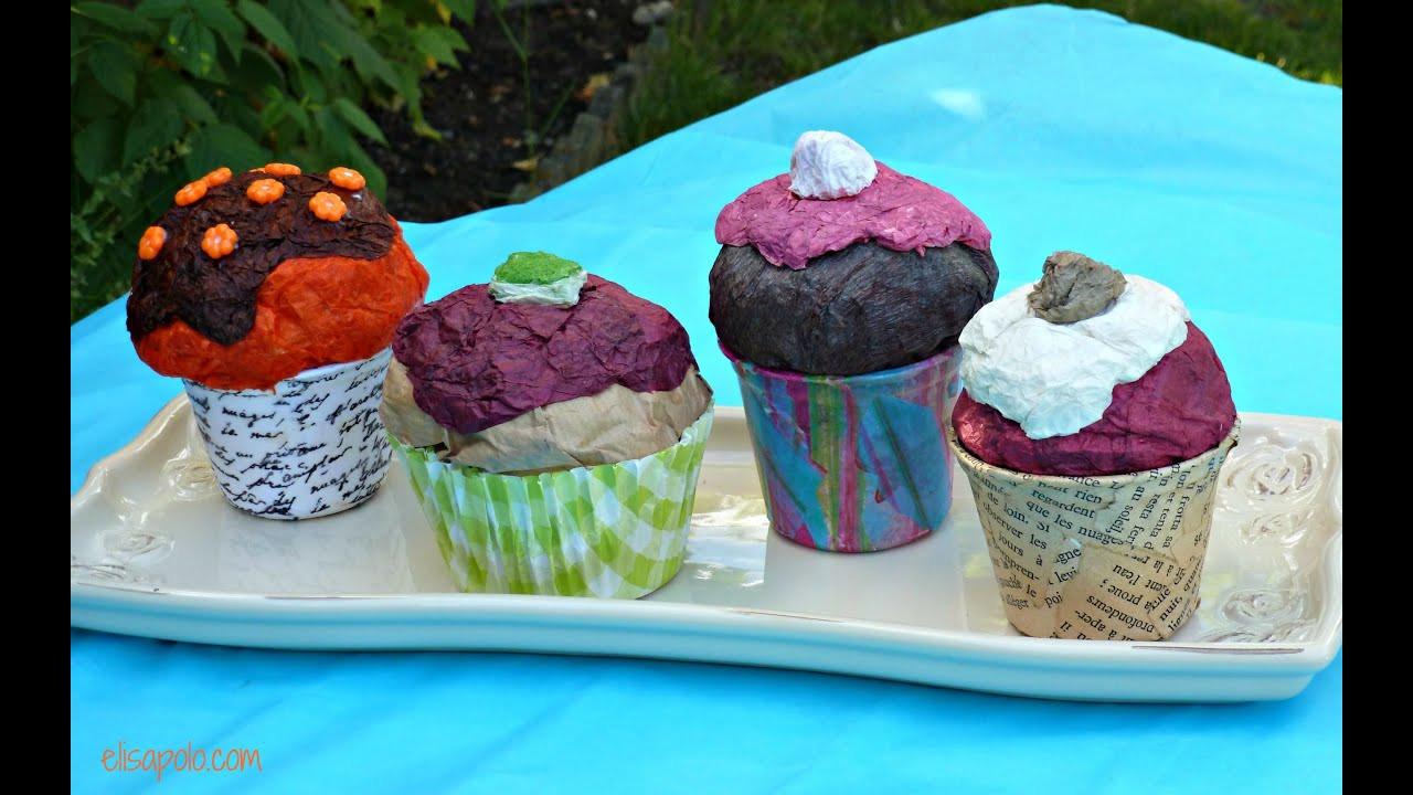Como Hacer Cupcakes  DIY Cupcake Crafts Cómo hacer cupcakes de papel maché