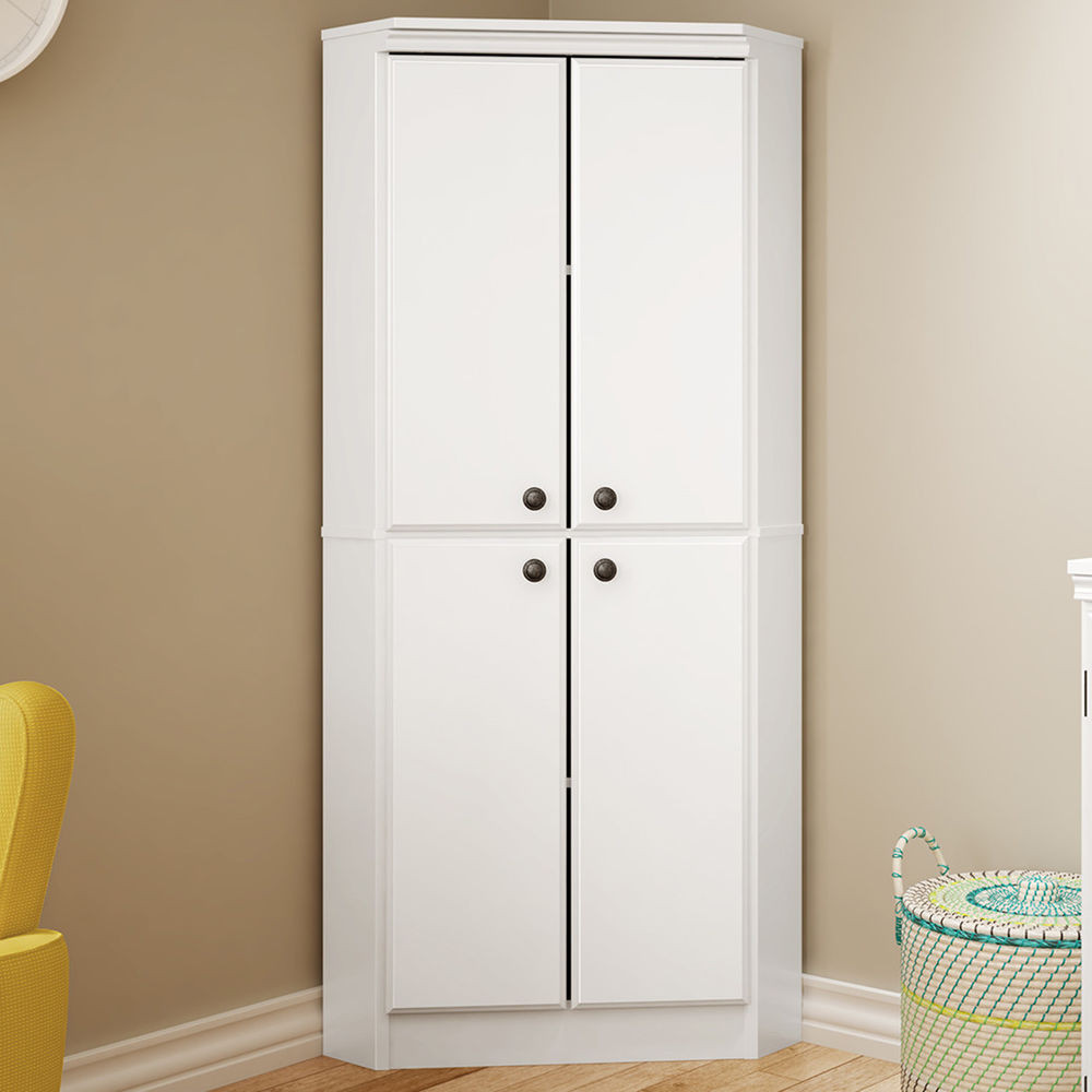 Corner Cabinet Bedroom  White Wardrobe Armoire Storage Closet Wood Clothes Cabinet