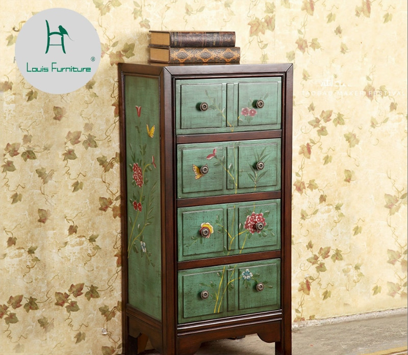 Corner Cabinet Bedroom  Louis Fashion American Pastoral Painted Furniture Green