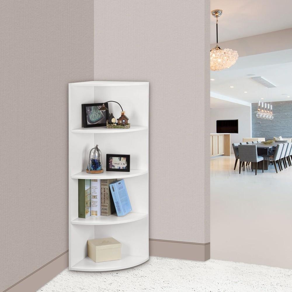 Corner Cabinet Bedroom  LANGRIA 5 Tier Modular Corner Shelf Bookcase Shelves Unit