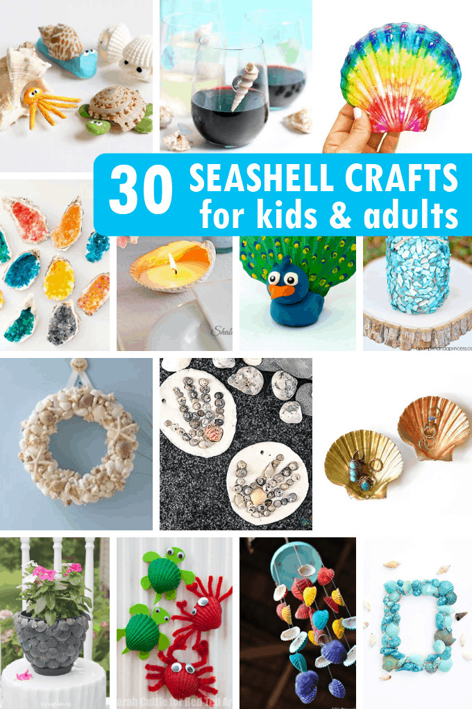 Craft Activities For Adults  30 SEASHELL CRAFTS for kids and adults for a creative summer